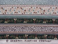 Floral Stripe onCreamCotton Sewing Quilting Fabric byGeneral Fabrics-1 Yard