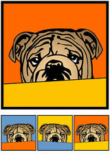 Bulldogge No.2 Hund pop art Retro Bilder Portrait Foto Popart Bild Gemälde bully