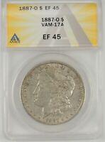"""1887-O $1 Morgan Silver Dollar ANACS XF45 #6109704 VAM-17A """"CLASHED G"""" RARE R6"""