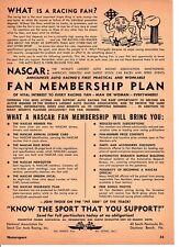 1952 NASCAR FAN MEMBERSHIP PLAN ~ ORIGINAL PRINT AD