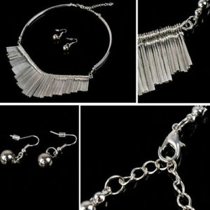 Women Metal Choker Chunky Chain Pendant Adjustable Necklace Earrings Jewelry Set