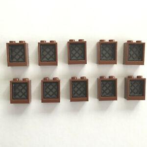10 Lego Fenster mit Gitter 1x2x2 neu-braun rotbraun schwarz NEU 60592 38320