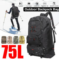 56-75L Waterproof Outdoor Military Tactical Bag Hiking Camping Travel Backpack