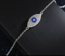 Chain Evil Eye Bracelet Silver Plated Dainty Adjustable