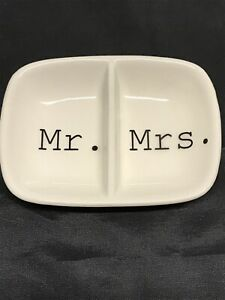 Mr. & Mrs Creative Co-Op Ceramic Two Section Dish White Newlyweds Anniversary