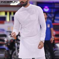 INCERUN Mens Causal Formal Shirt Long Sleeve Tops Baggy T-shirt Kaftan Tunic UK