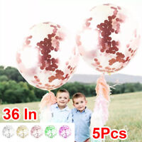 5Pcs Giant Clear Balloon Confetti Helium Latex Wedding Birthday Party Decor 36''