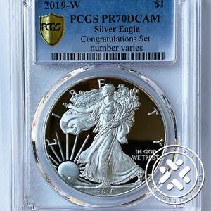 2019-W PCGS PR 70 DCAM 1oz Silver American Eagle Congratulations Set Gold Shield