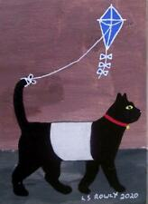 More details for galloway cat kite flying  original scottish impressionist oil painting ls rowly
