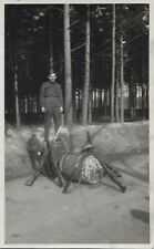 Canadian Army Soldier on snow bank somewhere in Canada WW2 Real Photo Postcard