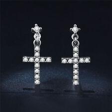 18K White Gold Plated Cross Full of Crystal Rhinestone Dangle Earrings ear Stud