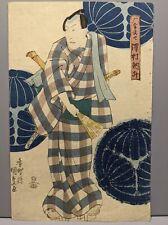 New listing Original 19th Century Kunisada Japanese Woodblock Print Man w/ Fan