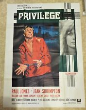 "PRIVILEGE~ PAUL JONES/JEAN SHRIMPTON ORIG 1967 FRENCH ""GRANDE"" MOVIE POSTER"