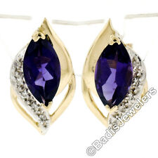 14K Yellow Gold 2.60ct Marquise Cut Amethyst & Round Diamond Flame Stud Earrings