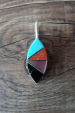 Navajo Indian Sterling Silver Turquoise, Coral, Mother of Pearl Inlay Pendant...