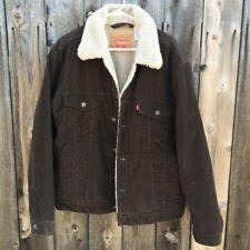 NWT Levi's Men's Sherpa Trucker Jacket Brown Corduroy Coat Size Medium