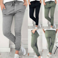 Jogger Pants Stretch Slim Fit Drawstring Skinny Trousers Womens Lady Casual New
