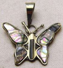 Vintage Butterfly Pendant w/ Abalone Shell Alpaca Mexico Cute Fun Silver Tone