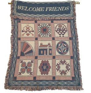 Vintage 1991 MWW Welcome Home Tapestry Wall Hanging 28x22 Blue Pink Great Cond.