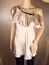 WOMEN'S DESIGNER, SARA CAMPBELL, BLONDE, PEAU DE' SOIE, SLEEVELESS BLOUSE, LARGE