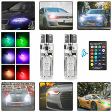 2X LED T10 Remote Control W5W 501 RGB Colour Changing Car Wedge Side Light Bulbs
