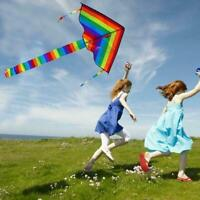 Children kite colorful rainbow kite long tail nylon kite outdoor flying toy Q1H6