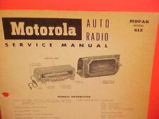 1954 DODGE CORONET ROYAL CONVERTIBLE INDY PACE CAR MOTOROLA RADIO SERVICE MANUAL