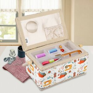 Extra Large Fabric  Sewing Craft Box Household Storage Organizer Basket UK