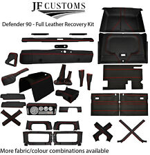 RED STITCH LEATHER COVERS FOR DEFENDER 90 83-06 FULL INTERIOR RE UPHOLSTERY KIT
