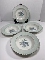 Set of 4 Royal Tettau DAWN ROSE Rimmed Soup Bowls Germany US Zone
