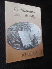 Revue Droits n°8 La déclaration de 1789  direction Stéphane Rials 1989