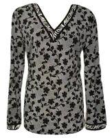 Michael Kors Women's Size Large V-Neck Black & White Floral Print Tunic Top