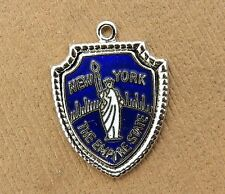Vintage silver NEW YORK CITY STATE STATUE OF LIBERTY TRAVEL SHIELD charm #M