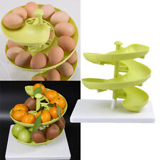 Green PP Plastic Kitchen Storage Spiral Helter Skelter Egg Holder Stand Rack