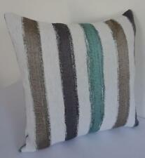 60cm Scandi Design Turquoise Grey Taupe Brushstrokes Textured Cushion Cover