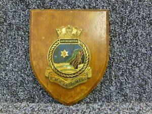 Vintage HMS Andromeda Wall Plaque Shield NAAFI HQ Naval Basin Singapore 27