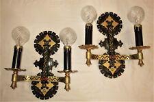 2 ANTIQUE GOTHIC WROUGHT IRON SPANISH REVIVAL SCONCES LIGHT FIXTURE CHANDELIER