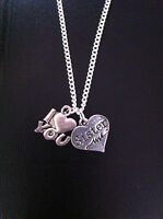 "I LOVE YOU SISTER CHARM NECKLACE 18"" SILVER CHAIN IN GIFT BAG UK"