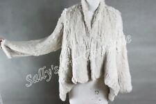 100% RABBIT FUR SWING LONG SLEEVE JACKET CREAM FREE SIZE Free P & P