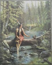 """Reproduction Print of Ind. Maiden like """"Wenonah"""" Sitting on Log Feeding Squirrel"""