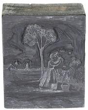 1700s Engraved Wooden Printing Block Killing Duck