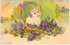 Postcard White Cat In Basket Of Violets Embossed