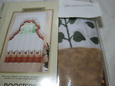 "Curtains of Character by United ""Roosters"" Window Tier set & Ruffle Swag NIP"