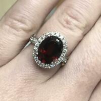 4.25 ct tw Natural Red Garnet & Diamond Solid 14k White Gold Halo Cocktail Ring