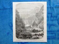 Gravure Année 1861 - Cascades dans les gorges du Taurus(Turquie) - Gole del Toro