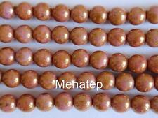 50 6 mm Czech Glass Round Beads: Luster - Opaque Rose/Gold Topaz