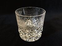 "Vintage Czech Bohemian Heavy Crystal Whiskey Glass, 3 1/2"" Tall x 3 1/2 Diameter"
