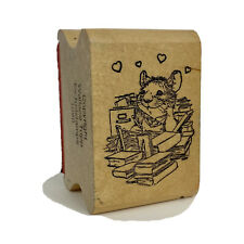 """Mouse booklover Rubber Stamp on Wood  Kidstamps by Wallace Tripp 1.5"""" x 2"""""""