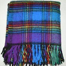 Vtg Stadium Blanket Purple Blue Black Red Plaid Sofa Camp Throw Fringe 54x54""