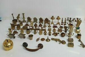Vintage dolls house furniture job lot metal brass coloured large bundle
